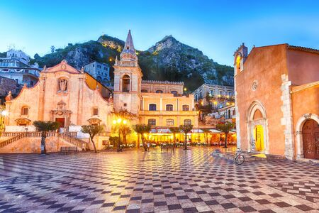 Belvedere of Taormina and San Giuseppe church on the square Piazza IX Aprile in Taormina. Sicily, Italy Stockfoto