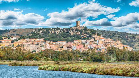 Posada- beautiful hill top village in Sardinia with Castello della Fava on the top. Location: Posada, Province of Nuoro, Sardinia, Italy, Europe