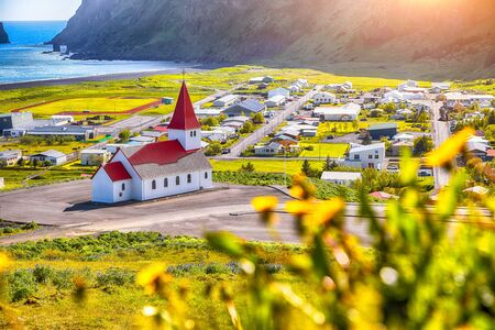 Beautiful view of Vikurkirkja christian church in blooming flowers. Scenic image of most popular tourist destination. Location: Vik village in Myrdal Valley, Iceland, Europe. Фото со стока