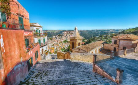 Sunrise at the old baroque town of Ragusa Ibla in Sicily. Ragusa Ibla cityscape at day in Val di Noto. Ragusa, Sicily, Italy, Europe.