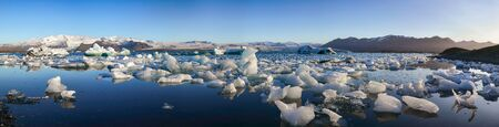 Beautifull landscape with floating icebergs in Jokulsarlon glacier lagoon at sunset. Location: Jokulsarlon glacial lagoon, Vatnajokull National Park, south Iceland, Europe Stock fotó