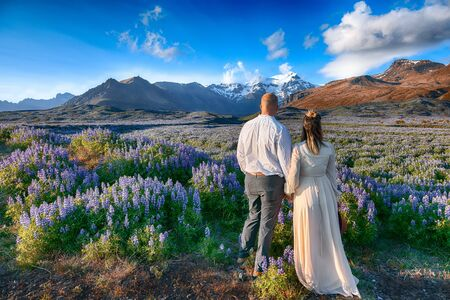 Typical Icelandic landscape with field of blooming lupine flowers next to the mountains and couple standing. Location Skaftafell National Park, Iceland, Europe.