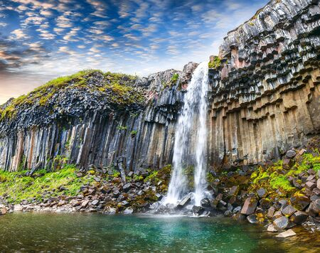 Amazing view of Svartifoss waterfall with basalt columns on South Iceland. Location Skaftafell National Park, Vatnajokull glacier, Iceland, Europe.