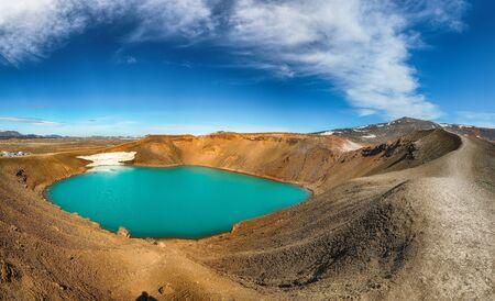 Splendid view of famous crater Viti at Krafla geothermal area . Location: Krafla caldera, Myvatn region, North part of Iceland, Europe
