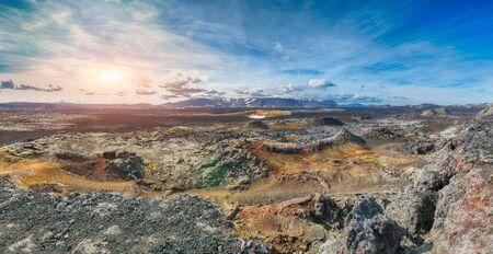 Frozen lavas field in the geothermal valley Leirhnjukur, near Krafla volcano. Location: valley Leirhnjukur, Myvatn region, North part of Iceland, Europe
