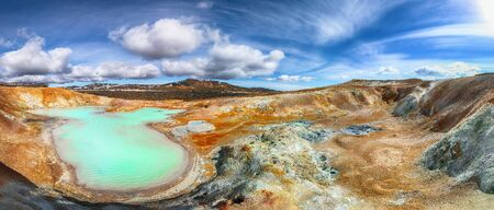 Exotic landscape of Acid hot lake with turquoise water in the geothermal valley Leirhnjukur. Location: valley Leirhnjukur, Myvatn region, North part of Iceland, Europe