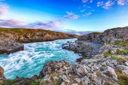 Incredible landscape scene of Geitafoss waterfall. Geitafoss cascade near Godafoss waterfall. Location: Bardardalur valley, Skjalfandafljot river, Iceland, Europe Foto de archivo - 132081582