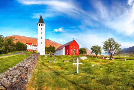 Fantastic view of Holar cathedral in Iceland. Location: Holar city, Hjaltadalur valley, North-Iceland, Europe