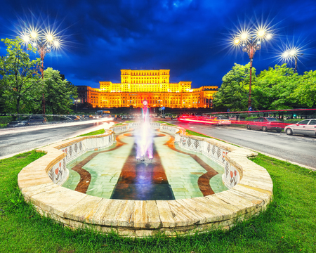 Illuminated Palace of the Parliament of  Bucharest at night. Dramatic evening view of Palace of the Parliament Bucharest city, Romania, Europe 에디토리얼