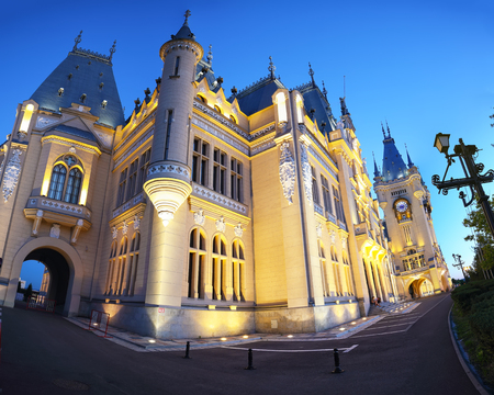 The Palace of Culture edifice in Iasi . Fantastic evening scene summer cityscape of Iasi town, capital of Moldavia region, Romania, Europe