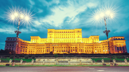 Illuminated Palace of the Parliament of  Bucharest at night. Dramatic evening view of Palace of the Parliament Bucharest city, Romania, Europe Editöryel
