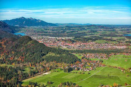 Top view panorama Schwangau village in autumn. Location: village of Schwangau, near Füssen, southwest Bavaria, Germany, Europe