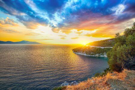 Amazing Coastline Of Makarska Riviera During Sunset. Location: Makarska riviera, Dalmatia, Croatia, Europe Stock fotó
