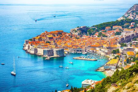 Aerial panoramic view of the old town of Dubrovnik on a sunny day. Location: Dubrovnik, Dalmatia, Croatia, Europe