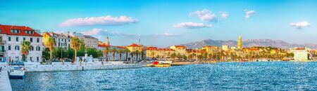 Amazing view of the promenade the Old Town of Split with the Palace of Diocletian and marina. Location: Split, Dalmatia, Croatia, Europe