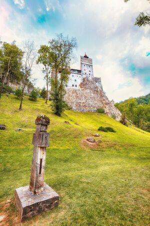 Landscape with medieval Bran castle known for the myth of Dracula. Bran or Dracula Castle in Transylvania. Location: Brasov region, Transylvania, Romania, Europe