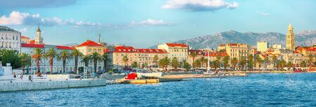 Fantastic view of the promenade the Old Town of Split with the Palace of Diocletian and marina.  Location:  Split, Dalmatia, Croatia, Europe