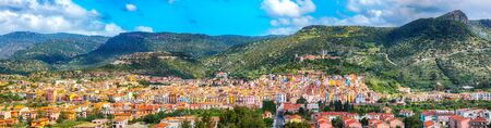 Wonderful morning panorama of colourful houses of old town Bosa in Sardinia. Location: Bosa town, Province of Oristano, Italy, Europe