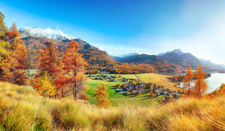 Stunning autumn scene over Sils im Engadin (Segl) village and Sils lake(Silsersee). Location: Sils im Engadin, Maloya district, Engadine region, Grisons canton, Switzerland, Europe.