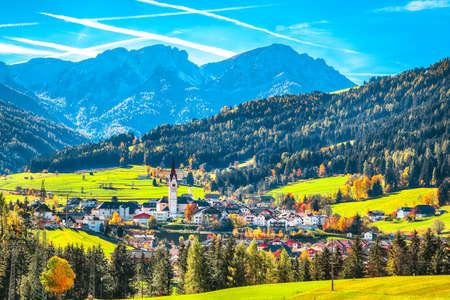 Scenic image of alpine village Valdaora di Sotto. Location: Valdaora di Sotto, Bolzano, South Tyrol, Italy, Europe.