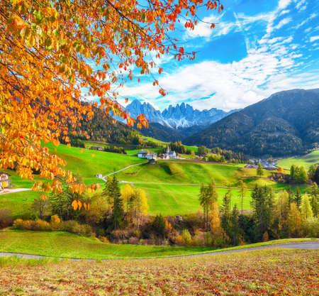 Marvelous autumn scene of magnificent Santa Maddalena village in Dolomites. Location: Santa Maddalena village, Val di Funes, Trentino-Alto Adige, Dolomites, Italy, Europe