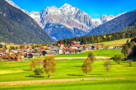 Scenic image of alpine village Rasun Anterselva. Location: Rasun Anterselva, Bolzano, South Tyrol, Italy, Europe.