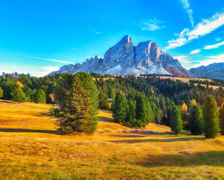Fantastic view of Peitlerkofel mountain from Passo delle Erbe in Dolomites. Location: Dolomite Alps, South Tyrol, Italy, Europe