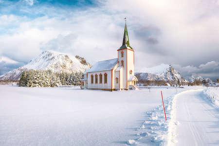 Splendid snowy winter scene of Valberg church on Lofoten Islands. Location: Valberg, Vestvagoy, Lofotens, Norway, Europe.