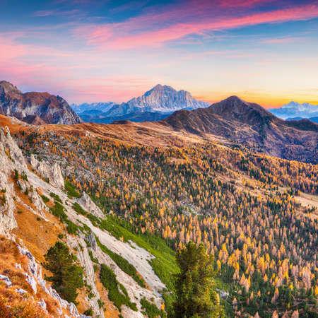 Astonishing view of popular travel destination mountain lake Antorno in autumn. Location: Antorno lake, Dolomiti alps, Province of Belluno, Italy, Europe