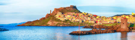 Picturesque view of Medieval town of Castelsardo. Cityscape of Castelsardo at sunset. Location: Castelsardo, Province of Sassari, Sardinia, Italy, Europe