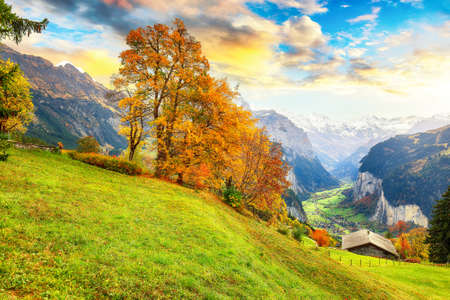 Fabulous autumn view of picturesque alpine Wengen village and Lauterbrunnen Valley with Jungfrau Mountain and on background. Location: Wengen village, Berner Oberland, Switzerland, Europe.