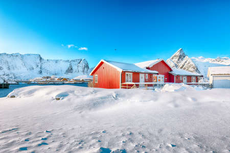 Traditional Norwegian red wooden houses on the shore of Reinefjorden on Toppoya island with Olstinden peak and snowy mountaines in background. Location: Toppoya island, Lofoten; Norway, Europe