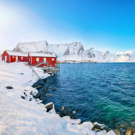 Traditional Norwegian red wooden houses on the shore of Reinefjorden on Toppoya island with snowy mountaines in background. Location: Toppoya island, Lofoten; Norway, Europe