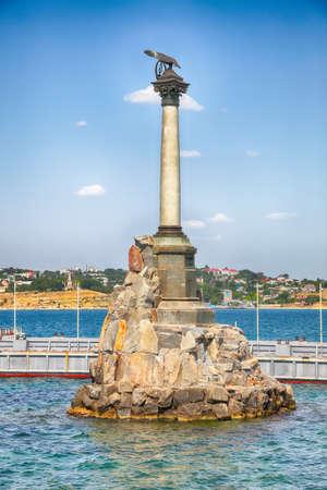Iconic monument to the sunken ships in Sevastopol Bay. Crimea