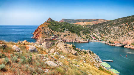 Stunning view of Balaklava bay with yachts from the Genoese fortress Chembalo in Sevastopol city. Crimea