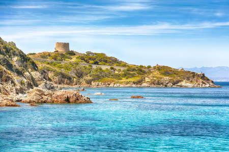 Gorgeous view of Torre di Longonsardo in Santa Teresa Gallura. Popular travel destination of Mediterranean sea. Location: Santa Teresa Gallura, Province of Sassari, Sardinia, Italy, Europe 免版税图像