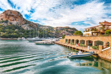 Astonishing view of Poltu Quatu port and bay with yachts and motorboats on Costa Smeralda. Popular travel destination of Mediterranean sea. Location: Poltu Quatu, Province of Sassari, Sardinia, Italy, Europe