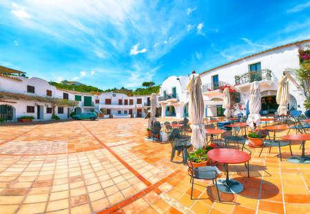 Splendid view of Porto Rafael resort from beach bar. Famous travel destination. Location: Porto Rafael, Olbia Tempio province, Sardinia, Italy, Europe