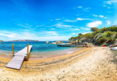 Captivating view of beach on Porto Rafael resort. Picturesque seascape of Mediterranean sea. Location: Porto Rafael, Olbia Tempio province, Sardinia, Italy, Europe Archivio Fotografico