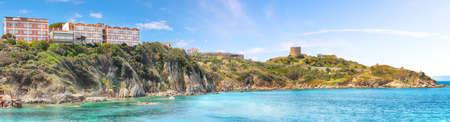 Awesome view of Torre di Longonsardo and Santa Teresa Gallura town. Popular travel destination of Mediterranean sea. Location: Santa Teresa Gallura, Province of Sassari, Sardinia, Italy, Europe