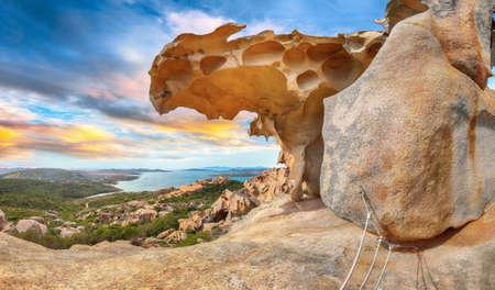 Breathtaking view on Palau from popular travel destination Bear Rock (Roccia dell'Orso). Location: Palau, Province of Olbia-Tempio, Sardinia, Italy, Europe