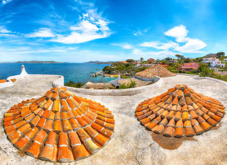 Captivating view of Porto Rafael resort. Awesome tiled roof of traditional houses. Location: Porto Rafael, Olbia Tempio province, Sardinia, Italy, Europe