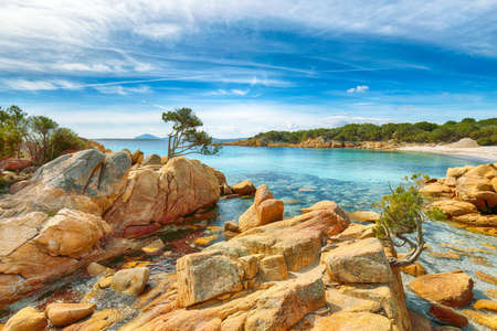 Breathtaking view of Capriccioli beach in Costa Smeralda. Popular tourist destination of Mediterranean sea. Location: Arzachena, Province of Sassari, Sardinia, Italy, Europe
