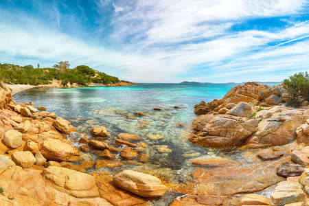 Astonishing view of Capriccioli beach in Costa Smeralda. Popular tourist destination of Mediterranean sea. Location: Arzachena, Province of Sassari, Sardinia, Italy, Europe