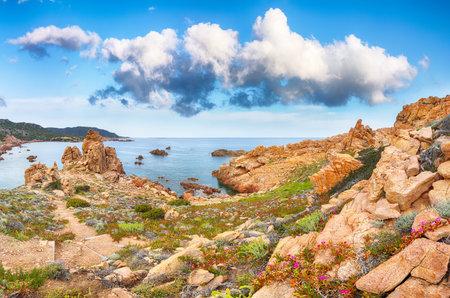 Gorgeous view of popular travel destination Costa Paradiso. Picturesque landcape of Mediterranean sea. Location: Costa Paradiso, Province of Sassari, Sardinia, Italy, Europe 免版税图像