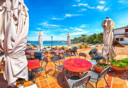 Gorgeous view of Porto Rafael resort from beach bar. Famous travel destination. Location: Porto Rafael, Olbia Tempio province, Sardinia, Italy, Europe