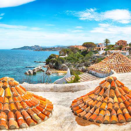 Captivating view of Porto Rafael resort. Awesome tiled roof of traditional houses. Location: Porto Rafael, Olbia Tempio province, Sardinia, Italy, Europe 免版税图像