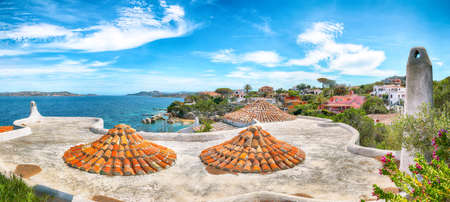 Gorgeous view of Porto Rafael resort. Awesome tiled roof of traditional houses. Location: Porto Rafael, Olbia Tempio province, Sardinia, Italy, Europe