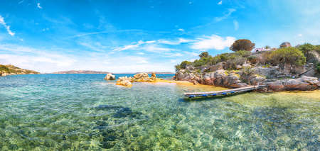 Marvelous view of beach on Porto Rafael resort. Picturesque seascape of Mediterranean sea. Location: Porto Rafael, Olbia Tempio province, Sardinia, Italy, Europe