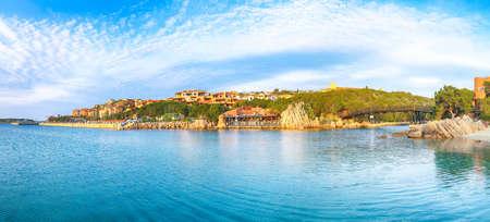 Panoramic view of Porto Cervo at sunset. Popular tourist destination of Mediterranean sea. Location: Arzachena, Province of Sassari, Sardinia, Italy, Europe